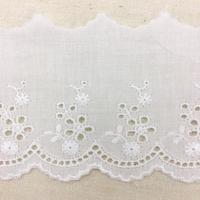 Scalloped Cotton Lace Trim / Off White / 2m