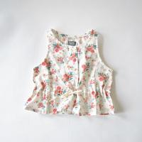 ノースリーブブラウス Sleeveless flower blouse with waist ribbon / tocotovintage (トコトヴィンテージ)