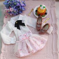 DDドルフィードリーム洋服 ワイシャツ 花柄スカート お洋服セット