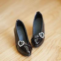 DD,1/3 ドール靴 ハートパンプス ドルフィードリーム シューズ(ブラック)