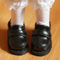 MDD ドール靴 ミニドルフィードリーム 学生 厚底シューズ ローファー(ブラック)