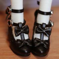 MDD,4分サイズ ドール靴 リボン ヒールパンプス シューズ(ブラック)