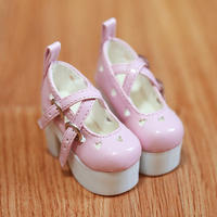 DD,DDS,DDDY,SD ドール靴 ハートパンプス(ピンク)