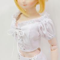 DD,1/3 ドルフィードリーム服 お迎えお洋服 トップス オフショル シャツ(ホワイト)
