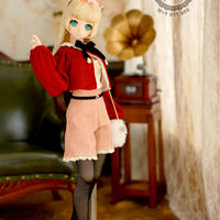 DD,SDサイズ ドルフィードリーム 春のお出かけ洋服セット(レッド×オレンジズボン)