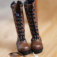 MDD ドール靴 ミニドルフィードリーム リボンブーツ(ブラウン)
