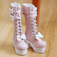 DD ドルフィードリーム靴 リボン ロングブーツ(ピンク)