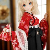 DD,SD,BJD1/3 ドルフィードリーム 卒業式 袴 赤 お花柄 着物セット