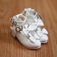 MDD,4分サイズ ドール靴 リボン ヒールパンプス シューズ(ホワイト)