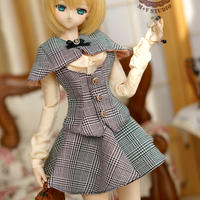 DD,1/3 ドルフィードリーム服 探偵風 洋服セット(グレー)
