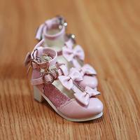 MDD,4分サイズ ドール靴 リボン ヒールパンプス シューズ(ピンク)
