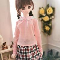 DD,1/3 ドルフィードリーム服 セーター  チェック柄スカートセット