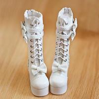 DD ドルフィードリーム靴 リボン ロングブーツ(ホワイト)