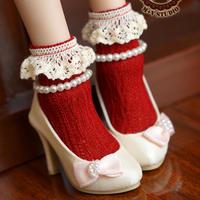 MDD,MSD ドルフィードリーム靴下 フリルソックス(レッド)