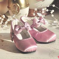 MDD,4分サイズ ミニドルフィードリーム ベルベット リボン ドール靴(ピンク)