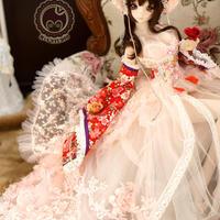 DD,1/3 ドルフィードリーム服 古装 和服セット(ピンク)