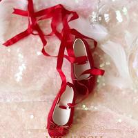 MDD 1/4 ドール靴 ミニドルフィードリーム靴 リボンレース パンプス(レッド)