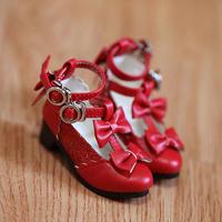 MDD,4分サイズ ドール靴 リボン ヒールパンプス シューズ(レッド)