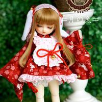 MDD MSD ミニドルフィードリーム服 ウサギの和服セット(レッド)
