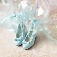 MDD 1/4 ドール靴 ミニドルフィードリーム靴 リボンレース パンプス(アクアブルー)