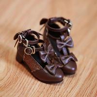 MDD,4分サイズ ドール靴 リボン ヒールパンプス シューズ(ブラウン)
