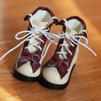 MDDサイズ ミニドルフィードリーム ドール靴 リボンブーツ(ワインレッド)