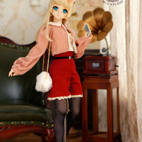 DD,SDサイズ ドール衣装 ドルフィードリーム 春のお出かけ洋服セット(オレンジ)