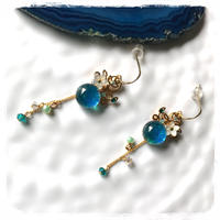 Spiral Blue ピアス or イヤリング