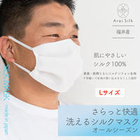 新設計! Lサイズ【軽くて薄い、シルクマスク】 さらっと快適 洗えるシルクマスク〈シルクシフォン・不織布高密度フィルター・3層・シルク100%・日本製・荒井シルク〉