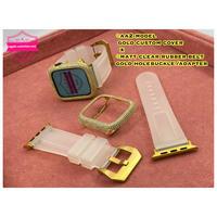 40mm44mm ◆AA2ゴールドベゼルx ◆マットクリアラバー■ゴールドホールバックルセット