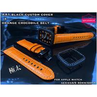 AA1 ブラックカスタムベルト 極太オレンジクロコダイルベルトセット