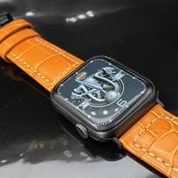 極太極厚 オレンジ本革型押しクロコダイルベルト