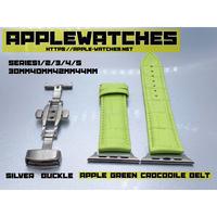 アップルグリーンクロコダイルベルトDバックルセット