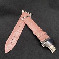 19番ピンク 本革型押しクロコダイルベルトベルト バタフライバックル付き