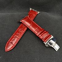 10.ダークレッド 本革型押しクロコダイルベルト バタフライバックル付き