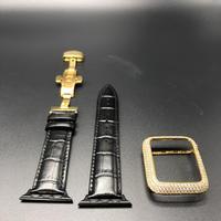 シリーズ123 ブラッククロコベルト&ゴールドカスタムカバーセット アップルウォッチ用