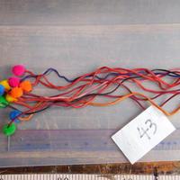 アジア民族衣装 はぎれ リス族ボンボンno.43  30センチ紐 10本セット 刺繍布 山岳民族 タイ 手芸材料 古布 手縫い紐 奇跡