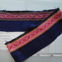 モン族のスカートのボーダー布 no.38  16 x90-100cm 麻布混 Hmong embroidery needlework はぎれ ラオス タイ