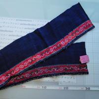 モン族のスカートのボーダー布 no.33  16 x90-100cm 麻布混 Hmong embroidery needlework はぎれ ラオス タイ