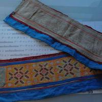 モン族のスカートのボーダー布 no.13  17 x90-100cm 麻布混 Hmong embroidery needlework はぎれ ラオス タイ