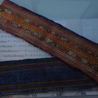 モン族のスカートのボーダー布 no. 11  14x90-100cm 麻布混 Hmong embroidery needlework はぎれ ラオス タイ