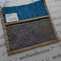 モン族の襟飾り no.23  14x13.5 cm  Hmong embroidery needlework はぎれ ラオス タイ