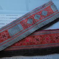 モン族のスカートのボーダー布 no.10  16 x90-100cm 麻布混 Hmong embroidery needlework はぎれ ラオス タイ