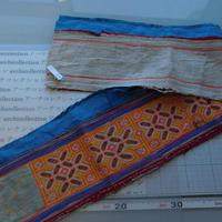 モン族のスカートのボーダー布 no.14 17 x90-100cm 麻布混 Hmong embroidery needlework はぎれ ラオス タイ
