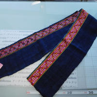 モン族のスカートのボーダー布 no.51  14 x90-100cm 麻布混 Hmong embroidery needlework はぎれ ラオス タイ