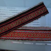 モン族のスカートのボーダー布 no.22  13 x90-100cm 麻布混 Hmong embroidery needlework はぎれ ラオス タイ