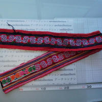 モン族のスカートのボーダー布 no.19  9 x90-100cm 麻布混 Hmong embroidery needlework はぎれ ラオス タイ