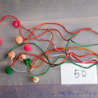 アジア民族衣装 はぎれ リス族ボンボンno.50  30センチ紐 10本セット 刺繍布 山岳民族 タイ 手芸材料 古布 手縫い紐 奇跡