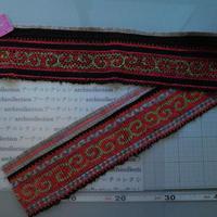 モン族のスカートのボーダー布 no.21  13 x90-100cm 麻布混 Hmong embroidery needlework はぎれ ラオス タイ