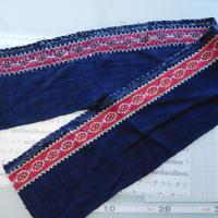 モン族のスカートのボーダー布 no.29  16 x90-100cm 麻布混 Hmong embroidery needlework はぎれ ラオス タイ